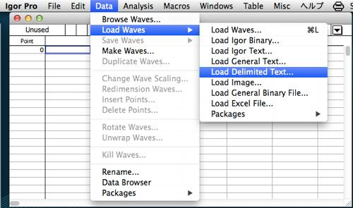 igorにテキストファイル形式のデータを取り込む方法