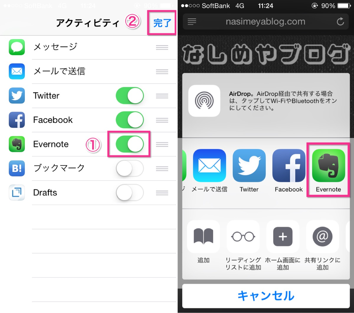 iPhoneのEvernoteクリップ