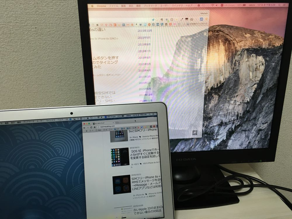 Mac用のデュアルディスプレイ